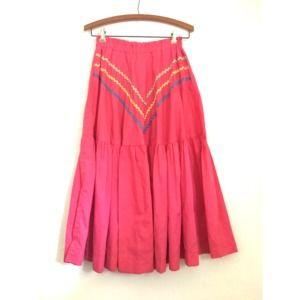 Vintage 70's Pink RIC RAC Chevron Pattern Skirt